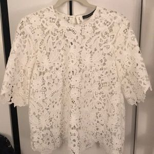 White lace elbow sleeve top